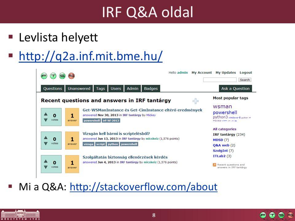 8 IRF Q&A oldal  Levlista helyett  http://q2a.inf.mit.bme.hu/ http://q2a.inf.mit.bme.hu/  Mi a Q&A: http://stackoverflow.com/abouthttp://stackoverflow.com/about