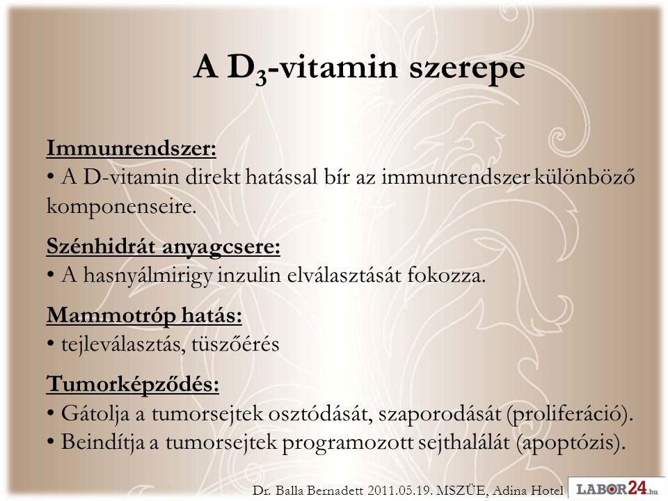 Immunrendszer: • A D-vitamin direkt hatással bír az immunrendszer különböző komponenseire.