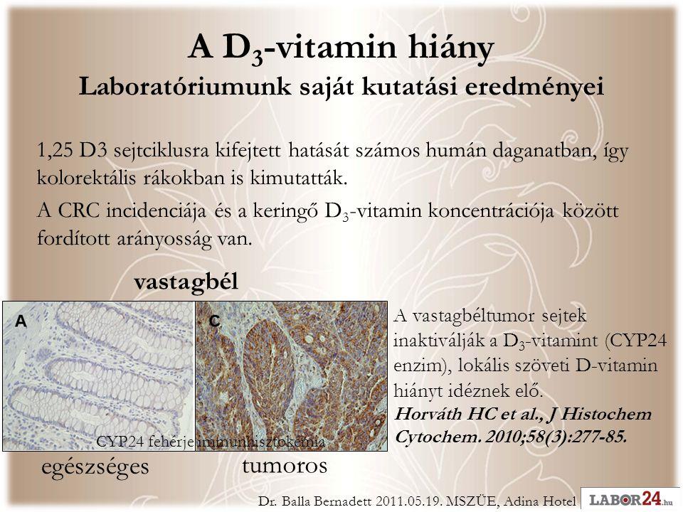 A D 3 -vitamin hiány Laboratóriumunk saját kutatási eredményei egészséges tumoros vastagbél A vastagbéltumor sejtek inaktiválják a D 3 -vitamint (CYP24 enzim), lokális szöveti D-vitamin hiányt idéznek elő.