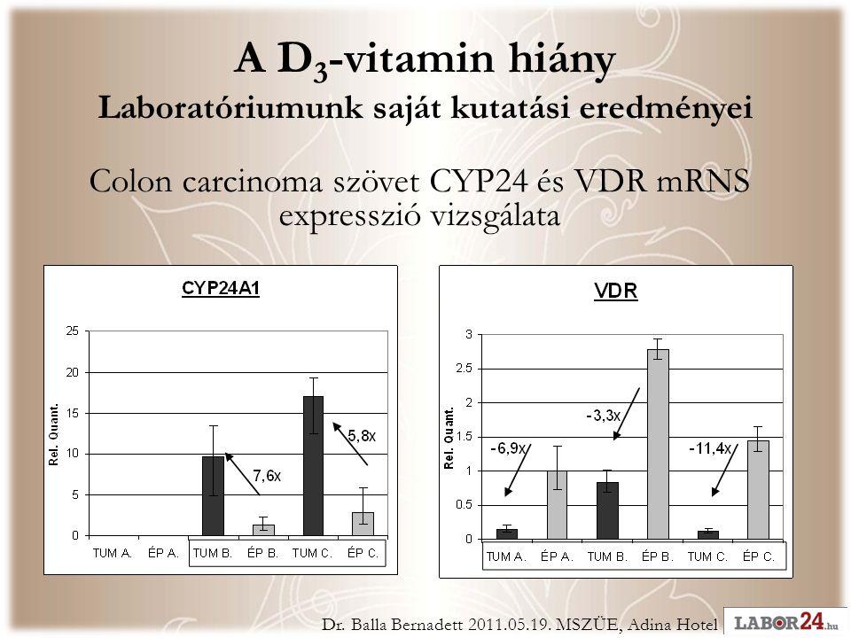 A D 3 -vitamin hiány Laboratóriumunk saját kutatási eredményei Colon carcinoma szövet CYP24 és VDR mRNS expresszió vizsgálata Dr.