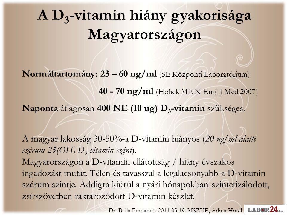 A D 3 -vitamin hiány gyakorisága Magyarországon Normáltartomány: 23 – 60 ng/ml (SE Központi Laboratórium) 40 - 70 ng/ml (Holick MF.