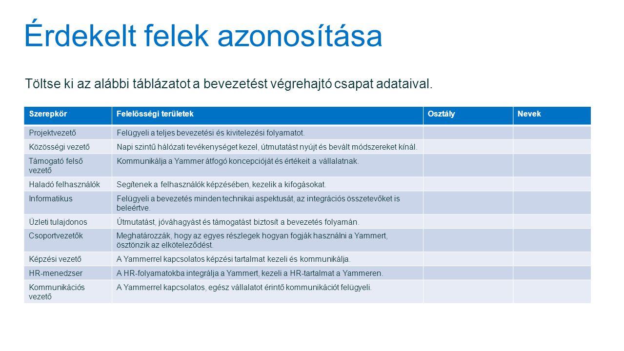 Érdekelt felek azonosítása Töltse ki az alábbi táblázatot a bevezetést végrehajtó csapat adataival.