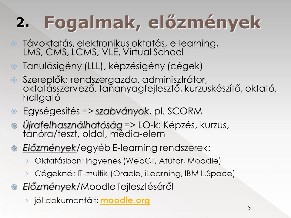  Távoktatás, elektronikus oktatás, e-learning, LMS, CMS, LCMS, VLE, Virtual School  Tanulásigény (LLL), képzésigény (cégek)  Szereplők: rendszergaz