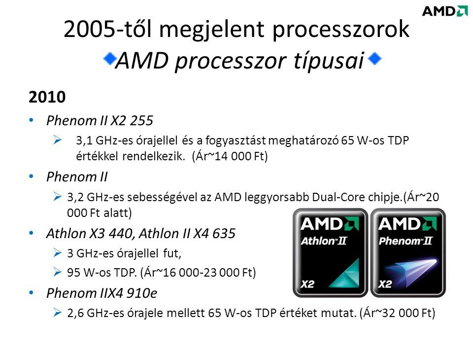 2010 • Phenom II X2 255  3,1 GHz-es órajellel és a fogyasztást meghatározó 65 W-os TDP értékkel rendelkezik.