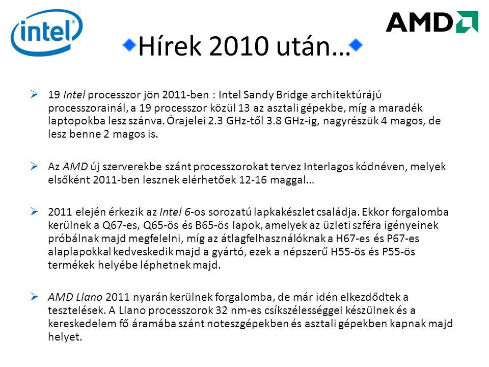Hírek 2010 után…  19 Intel processzor jön 2011-ben : Intel Sandy Bridge architektúrájú processzorainál, a 19 processzor közül 13 az asztali gépekbe, míg a maradék laptopokba lesz szánva.
