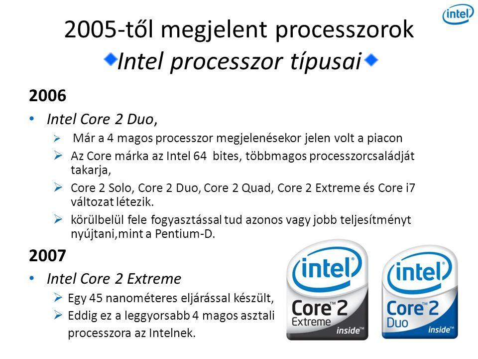 2005-től megjelent processzorok Intel processzor típusai 2006 • Intel Core 2 Duo,  Már a 4 magos processzor megjelenésekor jelen volt a piacon  Az Core márka az Intel 64 bites, többmagos processzorcsaládját takarja,  Core 2 Solo, Core 2 Duo, Core 2 Quad, Core 2 Extreme és Core i7 változat létezik.