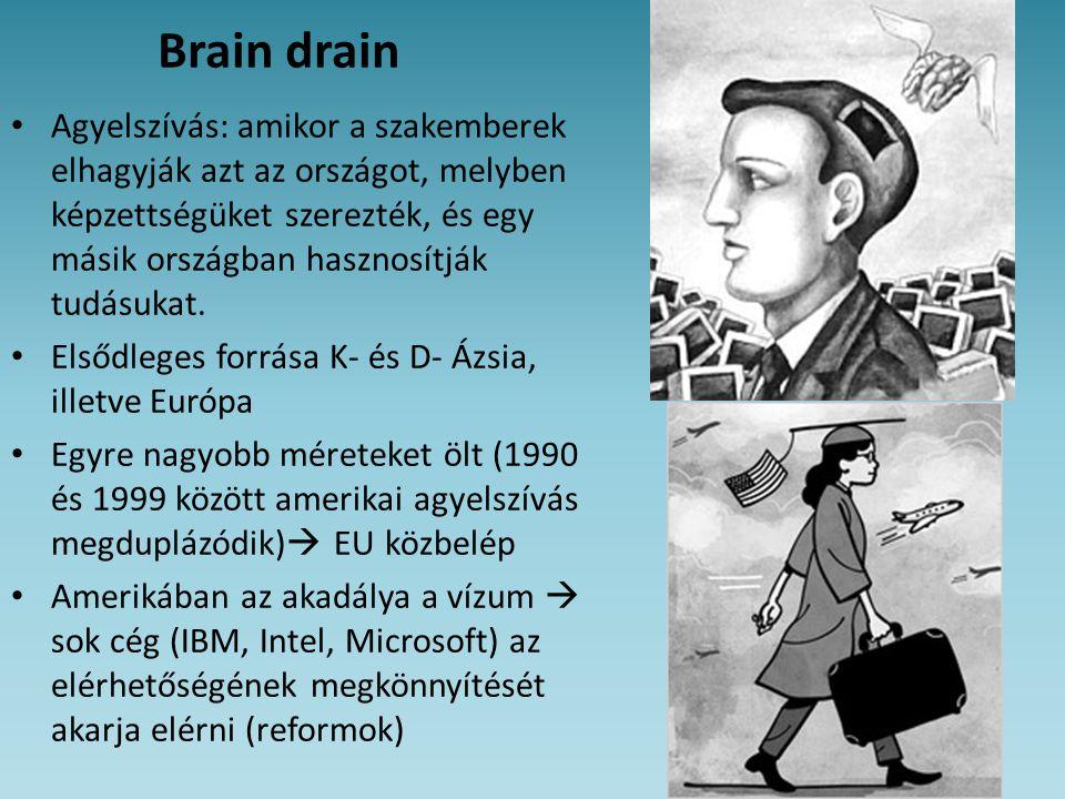 Brain drain • Agyelszívás: amikor a szakemberek elhagyják azt az országot, melyben képzettségüket szerezték, és egy másik országban hasznosítják tudás