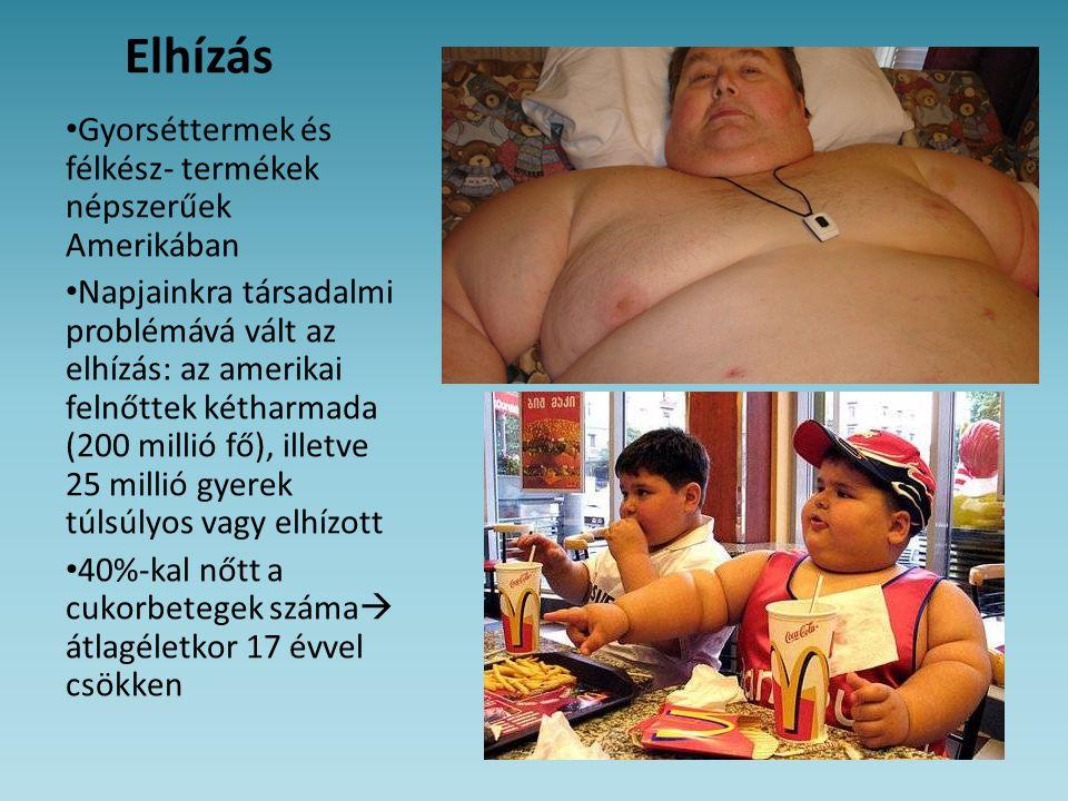 Elhízás • Gyorséttermek és félkész- termékek népszerűek Amerikában • Napjainkra társadalmi problémává vált az elhízás: az amerikai felnőttek kétharmad