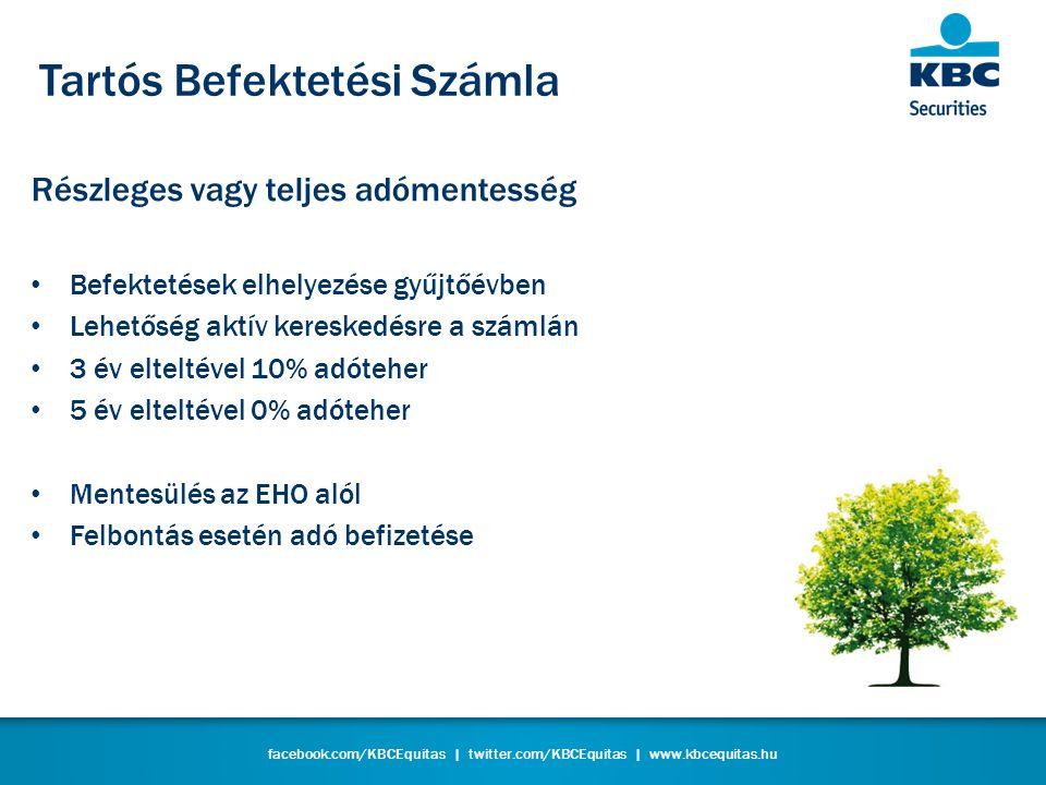 facebook.com/KBCEquitas | twitter.com/KBCEquitas | www.kbcequitas.hu Tartós Befektetési Számla Részleges vagy teljes adómentesség • Befektetések elhelyezése gyűjtőévben • Lehetőség aktív kereskedésre a számlán • 3 év elteltével 10% adóteher • 5 év elteltével 0% adóteher • Mentesülés az EHO alól • Felbontás esetén adó befizetése