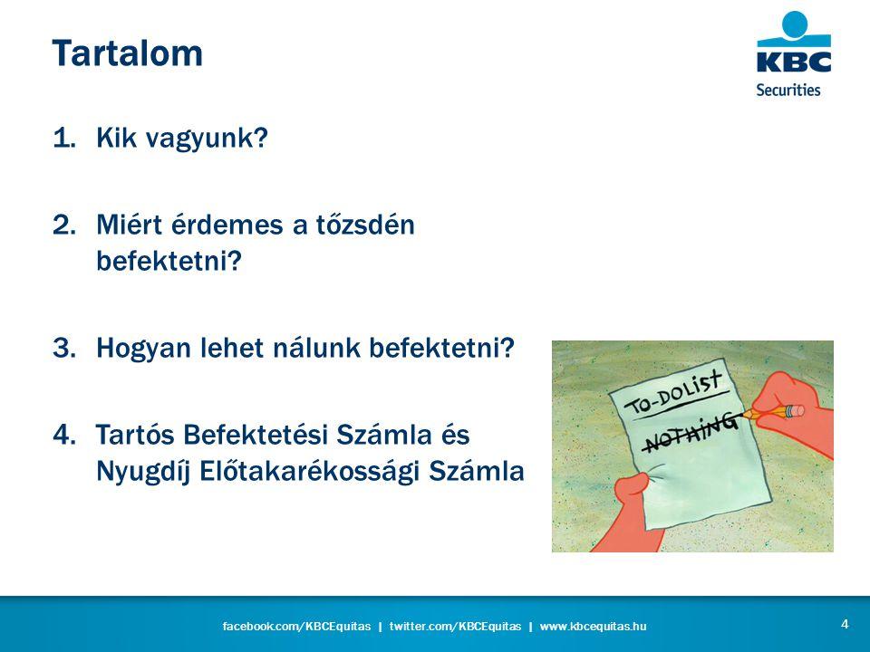 facebook.com/KBCEquitas   twitter.com/KBCEquitas   www.kbcequitas.hu KBC Securities Belga KBC csoport Cél: Ügyfeleink segítése sikeres tőzsdei befektetéseikben Online vs Offline 5