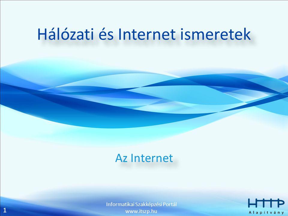 1 Informatikai Szakképzési Portál www.itszp.hu Hálózati és Internet ismeretek Az Internet