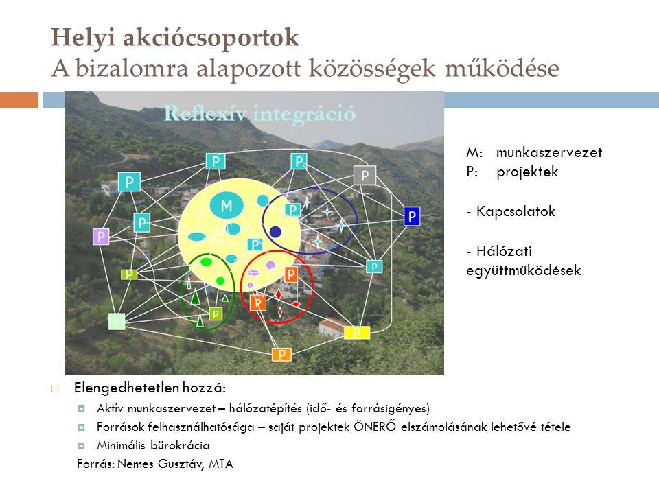 Helyi akciócsoportok A bizalomra alapozott közösségek működése  Elengedhetetlen hozzá:  Aktív munkaszervezet – hálózatépítés (idő- és forrásigényes)  Források felhasználhatósága – saját projektek ÖNERŐ elszámolásának lehetővé tétele  Minimális bürokrácia Forrás: Nemes Gusztáv, MTA M: munkaszervezet P: projektek - Kapcsolatok - Hálózati együttműködések