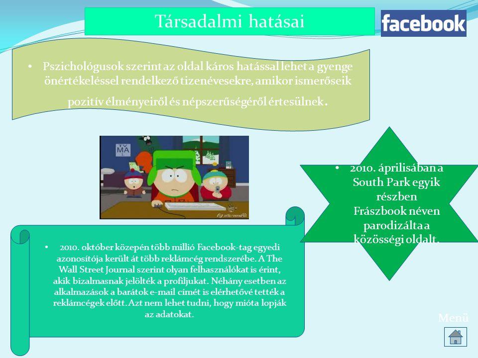 Társadalmi hatásai Menü • 2010. október közepén több millió Facebook-tag egyedi azonosítója került át több reklámcég rendszerébe. A The Wall Street Jo
