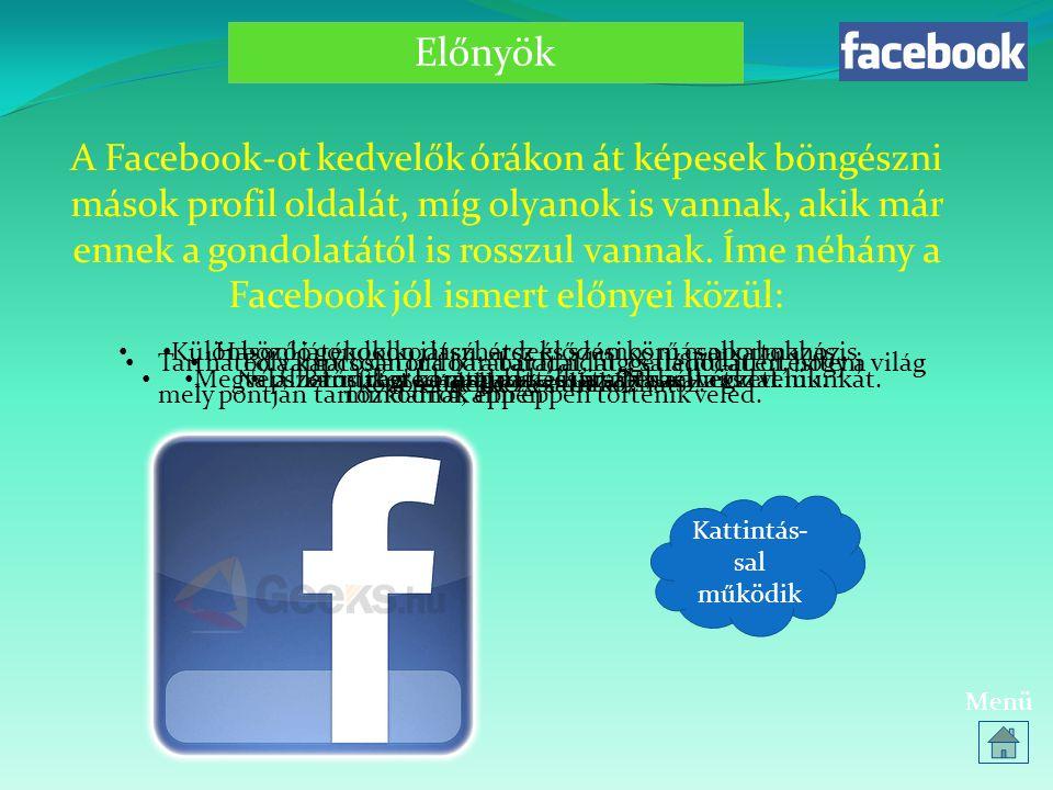 Források http://hu.wikipedia.org/wi ki/Mark_Zuckerberg http://gerillainformatika.b log.hu/2009/12/03/mire_v alo_a_facebook_1 http://www.kamaszpanasz.hu/hirek/lelek/2618/faceb ook-elonyei-hatranyai http://www.kamaszpanasz.hu/hirek/lelek/2427/faceb ook-veszelyei Képek többnyire saját fotók, Print Screen-es képek  Menü