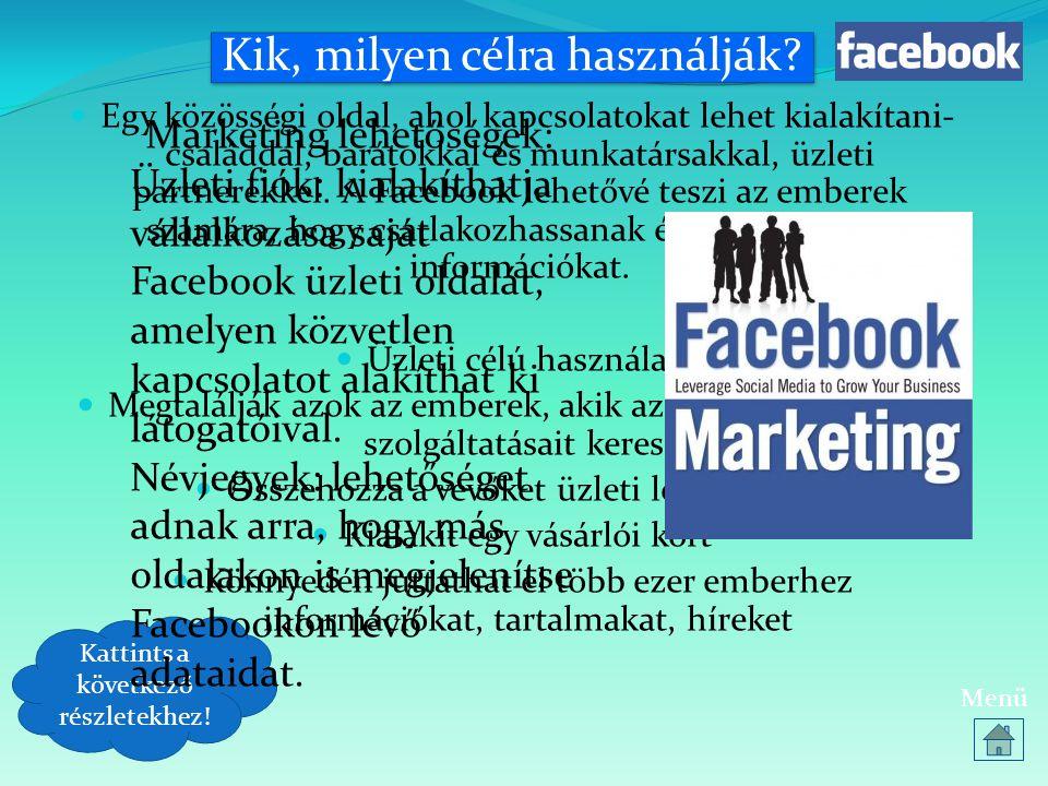 Kik, milyen célra használják?  Egy közösségi oldal, ahol kapcsolatokat lehet kialakítani- családdal, barátokkal és munkatársakkal, üzleti partnerekke