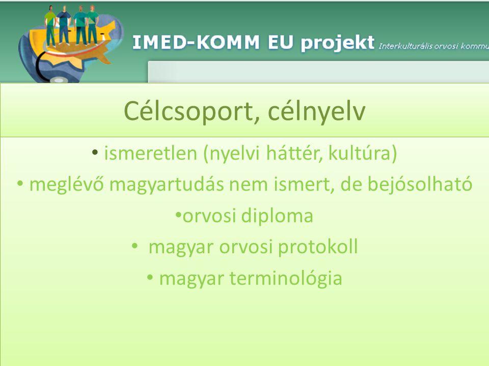 Célcsoport, célnyelv • ismeretlen (nyelvi háttér, kultúra) • meglévő magyartudás nem ismert, de bejósolható • orvosi diploma • magyar orvosi protokoll