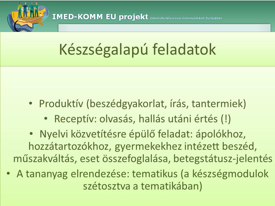 Készségalapú feladatok • Produktív (beszédgyakorlat, írás, tantermiek) • Receptív: olvasás, hallás utáni értés (!) • Nyelvi közvetítésre épülő feladat