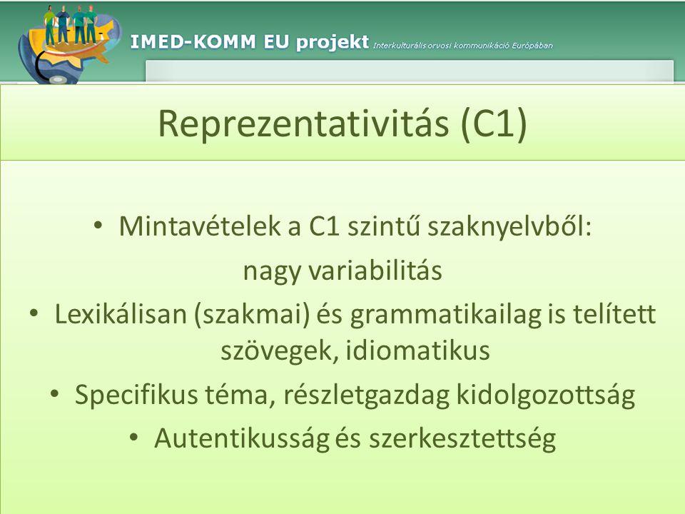 Reprezentativitás (C1) • Mintavételek a C1 szintű szaknyelvből: nagy variabilitás • Lexikálisan (szakmai) és grammatikailag is telített szövegek, idio