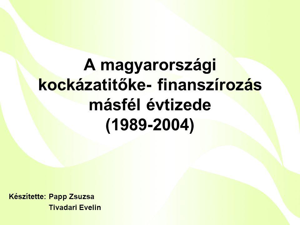 A magyarországi kockázatitőke- finanszírozás másfél évtizede (1989-2004) Készítette: Papp Zsuzsa Tivadari Evelin