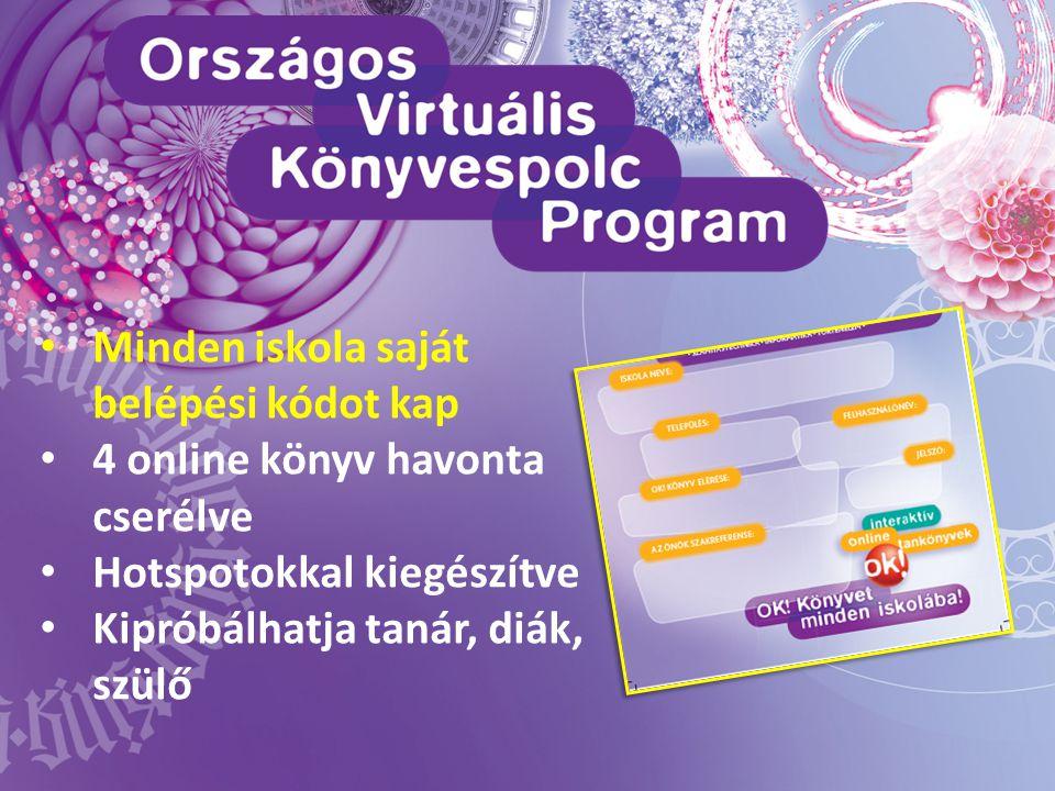 • Minden iskola saját belépési kódot kap • 4 online könyv havonta cserélve • Hotspotokkal kiegészítve • Kipróbálhatja tanár, diák, szülő