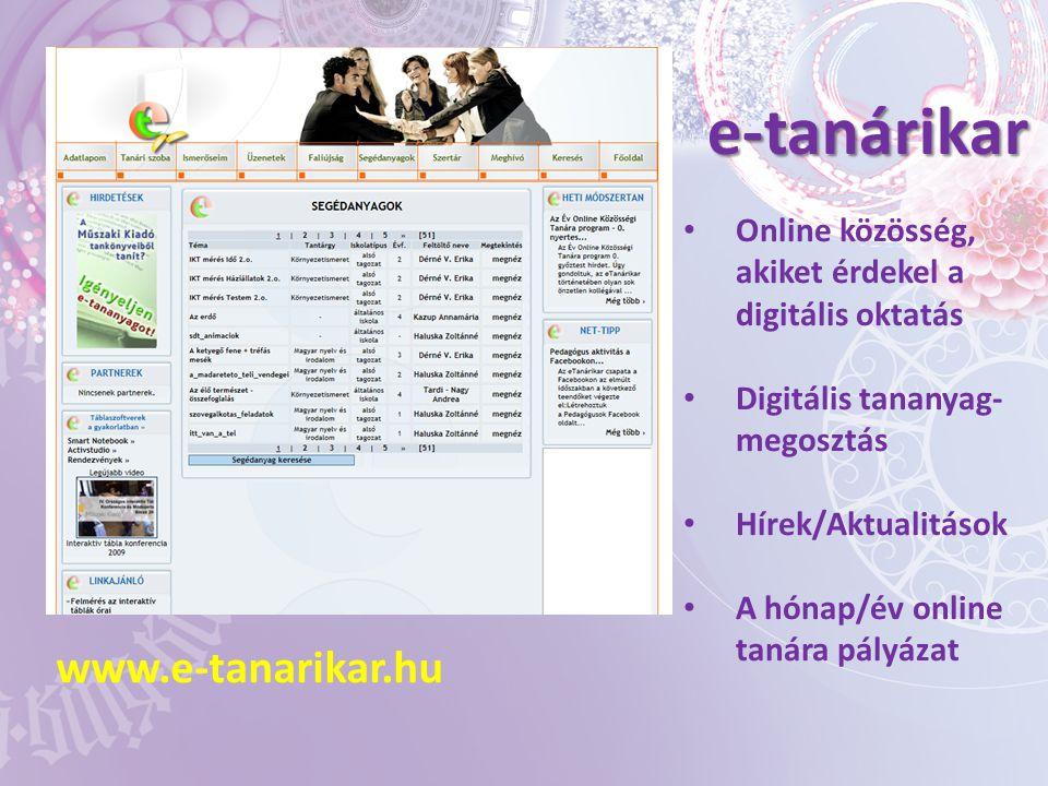 e-tanárikar www.e-tanarikar.hu • Online közösség, akiket érdekel a digitális oktatás • Digitális tananyag- megosztás • Hírek/Aktualitások • A hónap/év online tanára pályázat