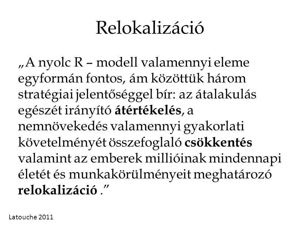 """Relokalizáció """"A nyolc R – modell valamennyi eleme egyformán fontos, ám közöttük három stratégiai jelentőséggel bír: az átalakulás egészét irányító átértékelés, a nemnövekedés valamennyi gyakorlati követelményét összefoglaló csökkentés valamint az emberek millióinak mindennapi életét és munkakörülményeit meghatározó relokalizáció. Latouche 2011"""