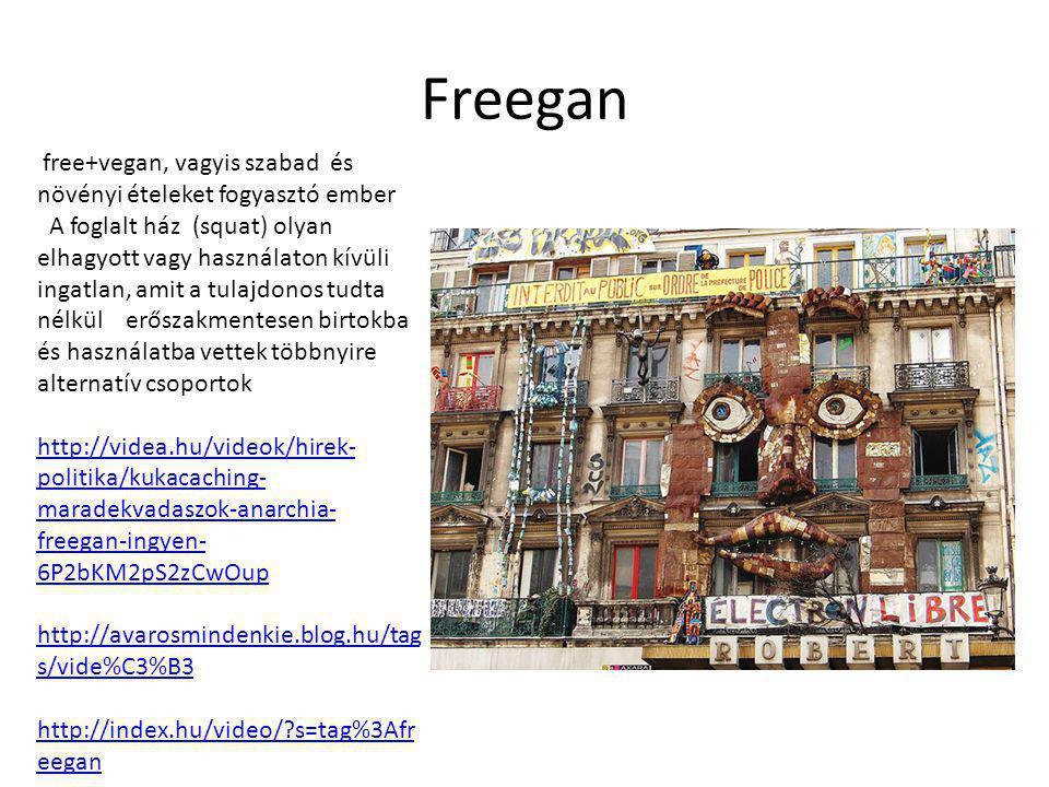 Freegan free+vegan, vagyis szabad és növényi ételeket fogyasztó ember A foglalt ház (squat) olyan elhagyott vagy használaton kívüli ingatlan, amit a tulajdonos tudta nélkül erőszakmentesen birtokba és használatba vettek többnyire alternatív csoportok http://videa.hu/videok/hirek- politika/kukacaching- maradekvadaszok-anarchia- freegan-ingyen- 6P2bKM2pS2zCwOup http://avarosmindenkie.blog.hu/tag s/vide%C3%B3 http://index.hu/video/?s=tag%3Afr eegan http://index.hu/video/?s=tag%3Afr eegan