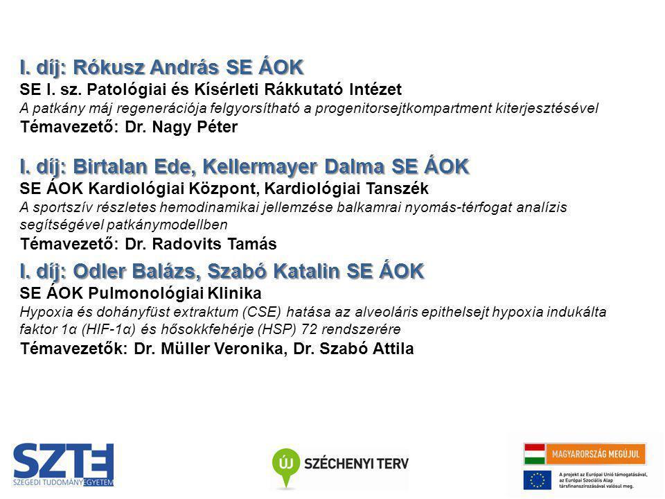 I. díj: Rókusz András SE ÁOK SE I. sz. Patológiai és Kísérleti Rákkutató Intézet A patkány máj regenerációja felgyorsítható a progenitorsejtkompartmen