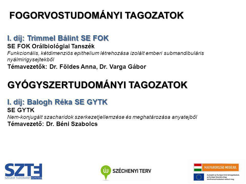 I. díj: Trimmel Bálint SE FOK SE FOK Orálbiológiai Tanszék Funkcionális, kétdimenziós epithelium létrehozása izolált emberi submandibuláris nyálmirigy