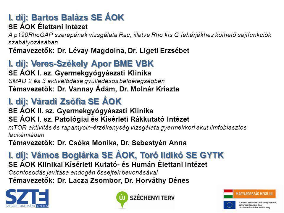 I. díj: Bartos Balázs SE ÁOK SE ÁOK Élettani Intézet A p190RhoGAP szerepének vizsgálata Rac, illetve Rho kis G fehérjékhez köthető sejtfunkciók szabál