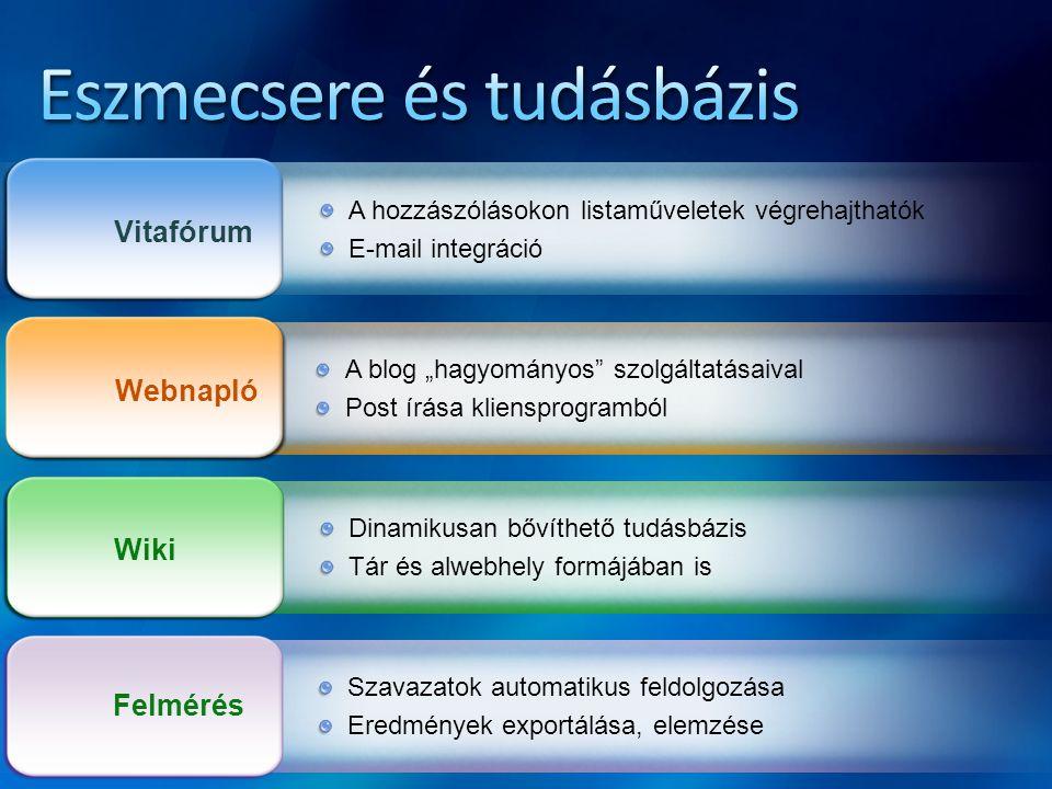 """Vitafórum A hozzászólásokon listaműveletek végrehajthatók E-mail integráció Webnapló A blog """"hagyományos"""" szolgáltatásaival Post írása kliensprogrambó"""