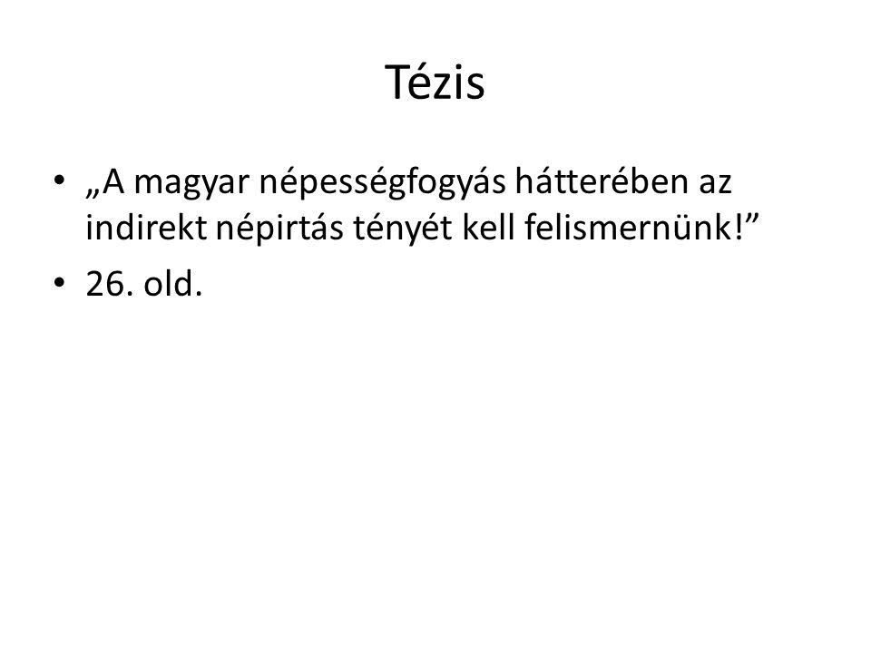 """Tézis • """"A magyar népességfogyás hátterében az indirekt népirtás tényét kell felismernünk! • 26."""