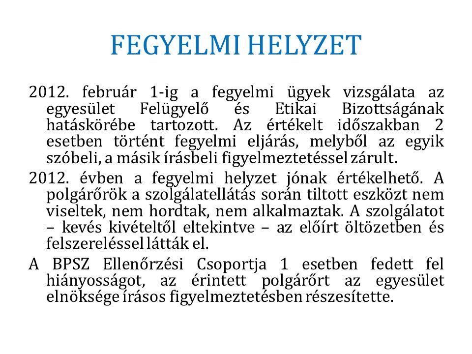 FEGYELMI HELYZET 2012. február 1-ig a fegyelmi ügyek vizsgálata az egyesület Felügyelő és Etikai Bizottságának hatáskörébe tartozott. Az értékelt idős