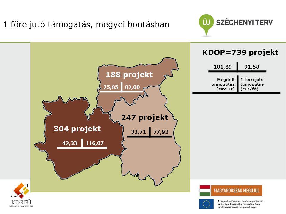 1 főre jutó támogatás, megyei bontásban KDOP=739 projekt 101,8991,58 Megítélt támogatás (Mrd Ft) 1 főre jutó támogatás (eFt/fő) 304 projekt 42,33116,0