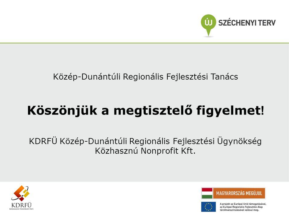 Közép-Dunántúli Regionális Fejlesztési Tanács Köszönjük a megtisztelő figyelmet ! KDRFÜ Közép-Dunántúli Regionális Fejlesztési Ügynökség Közhasznú Non