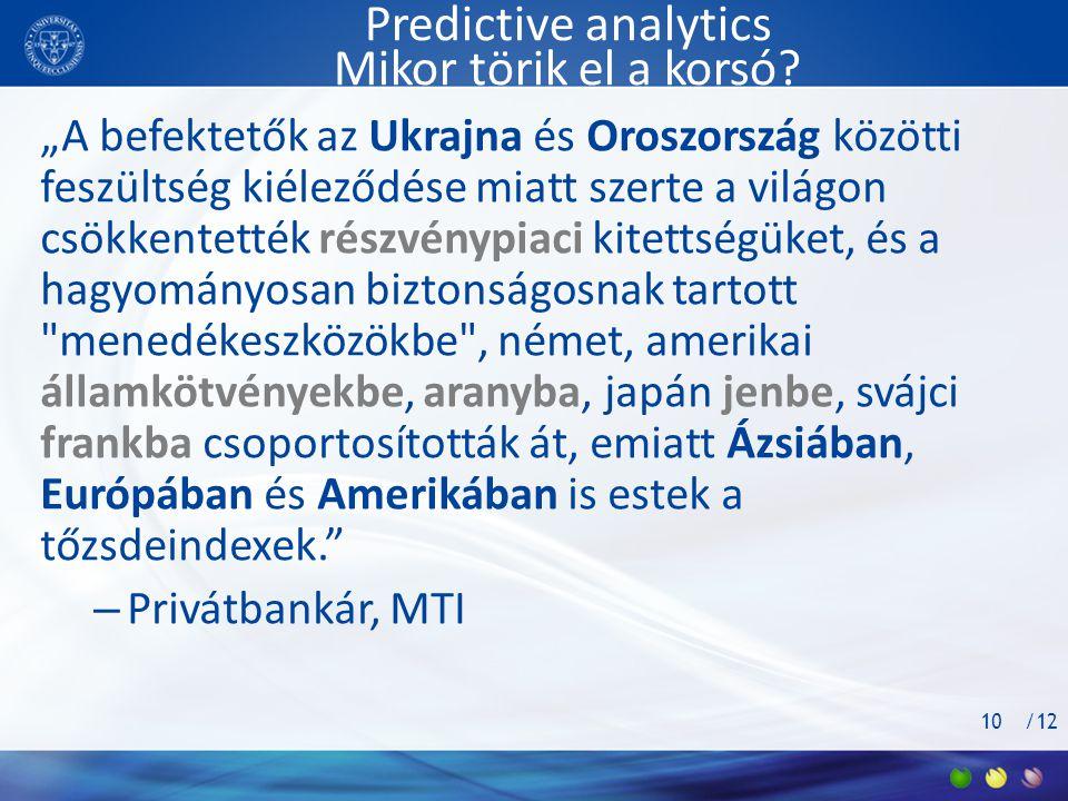 """/12 Predictive analytics Mikor törik el a korsó? """"A befektetők az Ukrajna és Oroszország közötti feszültség kiéleződése miatt szerte a világon csökken"""
