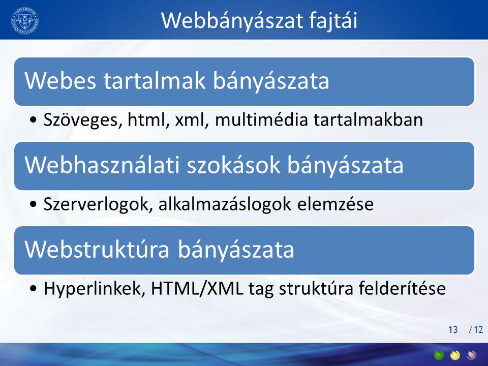 /12 Webbányászat fajtái Webes tartalmak bányászata •Szöveges, html, xml, multimédia tartalmakban Webhasználati szokások bányászata •Szerverlogok, alkalmazáslogok elemzése Webstruktúra bányászata •Hyperlinkek, HTML/XML tag struktúra felderítése 13