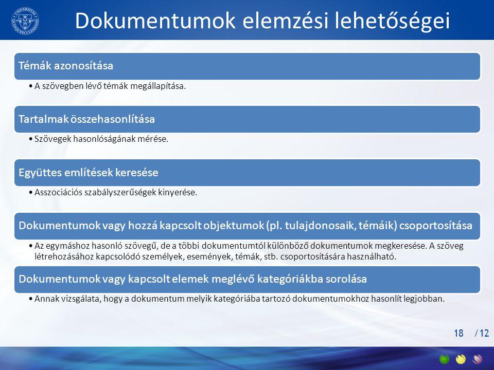 /12 Dokumentumok elemzési lehetőségei Témák azonosítása •A szövegben lévő témák megállapítása.