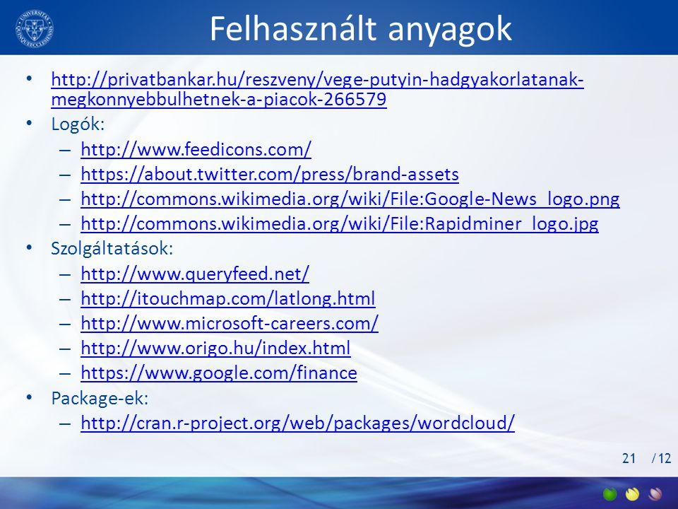 /12 Felhasznált anyagok • http://privatbankar.hu/reszveny/vege-putyin-hadgyakorlatanak- megkonnyebbulhetnek-a-piacok-266579 http://privatbankar.hu/reszveny/vege-putyin-hadgyakorlatanak- megkonnyebbulhetnek-a-piacok-266579 • Logók: – http://www.feedicons.com/ http://www.feedicons.com/ – https://about.twitter.com/press/brand-assets https://about.twitter.com/press/brand-assets – http://commons.wikimedia.org/wiki/File:Google-News_logo.png http://commons.wikimedia.org/wiki/File:Google-News_logo.png – http://commons.wikimedia.org/wiki/File:Rapidminer_logo.jpg http://commons.wikimedia.org/wiki/File:Rapidminer_logo.jpg • Szolgáltatások: – http://www.queryfeed.net/ http://www.queryfeed.net/ – http://itouchmap.com/latlong.html http://itouchmap.com/latlong.html – http://www.microsoft-careers.com/ http://www.microsoft-careers.com/ – http://www.origo.hu/index.html http://www.origo.hu/index.html – https://www.google.com/finance https://www.google.com/finance • Package-ek: – http://cran.r-project.org/web/packages/wordcloud/ http://cran.r-project.org/web/packages/wordcloud/ 21