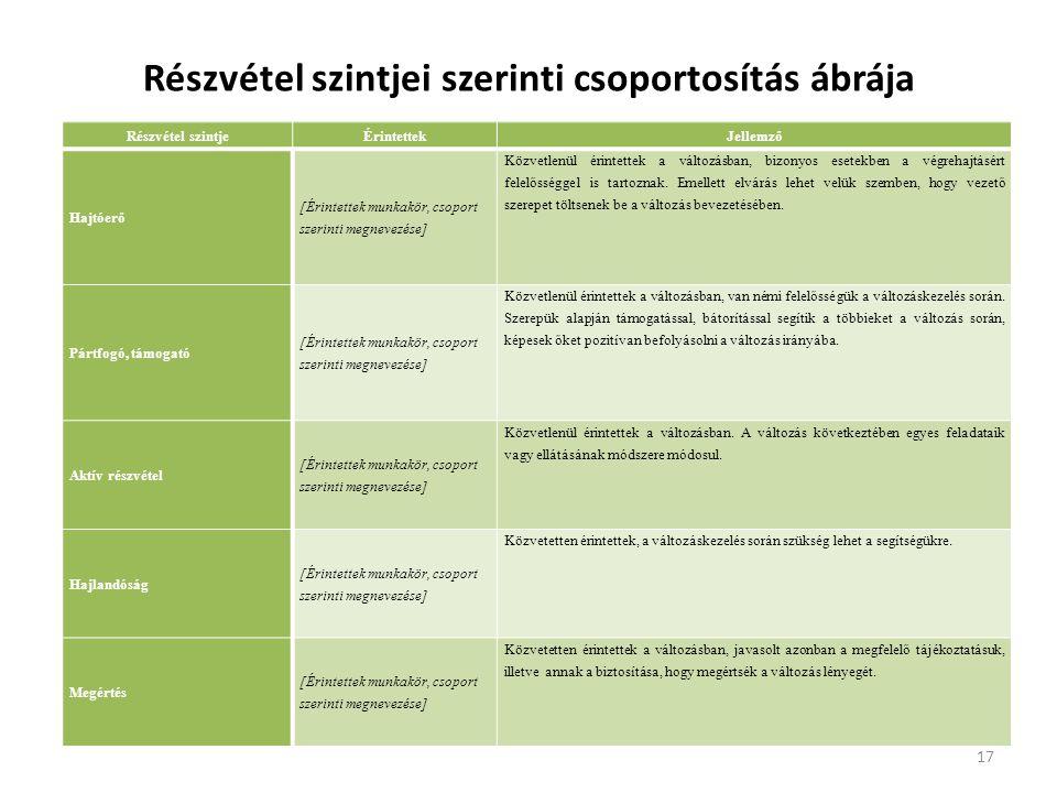 Részvétel szintjei szerinti csoportosítás ábrája Részvétel szintjeÉrintettekJellemző Hajtóerő [Érintettek munkakör, csoport szerinti megnevezése] Közv