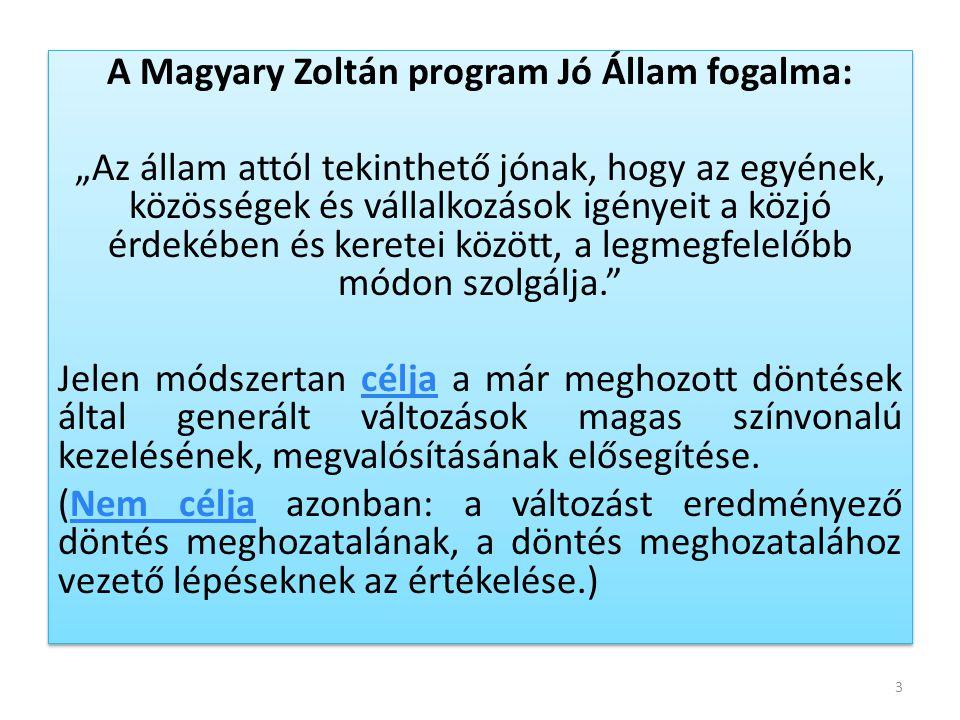 """A Magyary Zoltán program Jó Állam fogalma: """"Az állam attól tekinthető jónak, hogy az egyének, közösségek és vállalkozások igényeit a közjó érdekében é"""