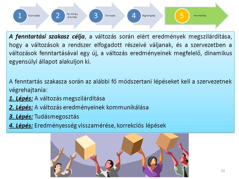 A fenntartási szakasz célja, a változás során elért eredmények megszilárdítása, hogy a változások a rendszer elfogadott részeivé váljanak, és a szerve