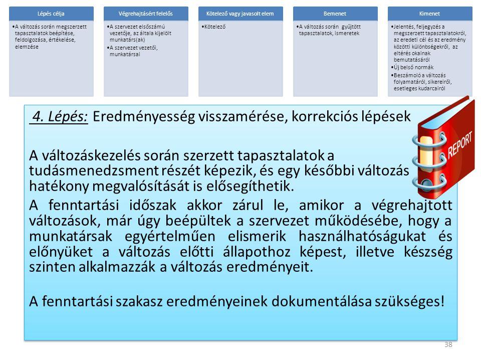 4. Lépés: Eredményesség visszamérése, korrekciós lépések A változáskezelés során szerzett tapasztalatok a tudásmenedzsment részét képezik, és egy késő