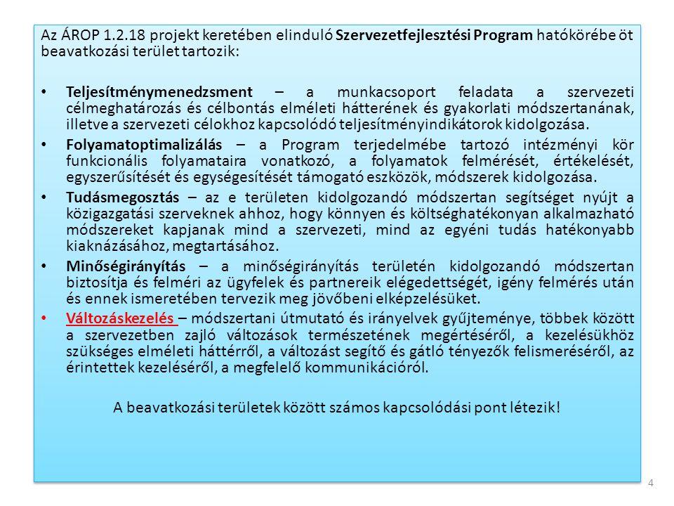 Az ÁROP 1.2.18 projekt keretében elinduló Szervezetfejlesztési Program hatókörébe öt beavatkozási terület tartozik: • Teljesítménymenedzsment – a munk
