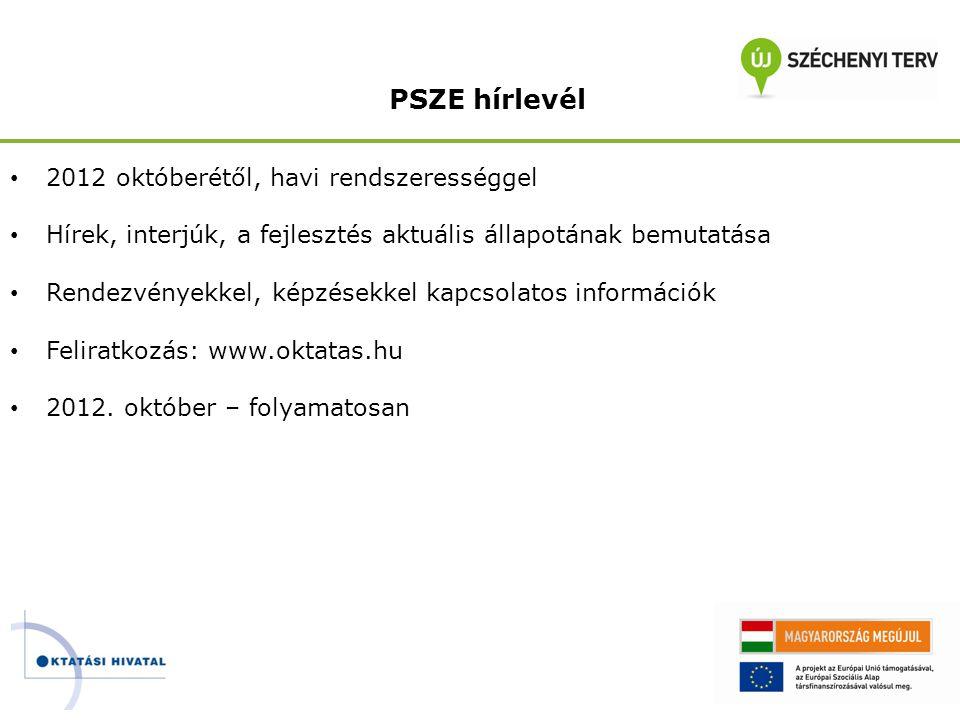 PSZE hírlevél • 2012 októberétől, havi rendszerességgel • Hírek, interjúk, a fejlesztés aktuális állapotának bemutatása • Rendezvényekkel, képzésekkel