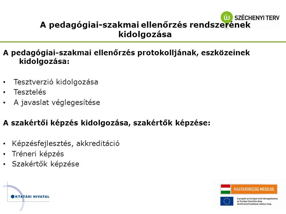 A pedagógiai-szakmai ellenőrzés rendszerének kidolgozása A pedagógiai-szakmai ellenőrzés protokolljának, eszközeinek kidolgozása: • Tesztverzió kidolg