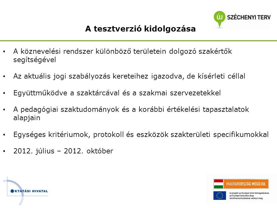 A tesztelés • Kutatás-fejlesztési feladat speciális szakemberek és módszerek alkalmazásával ( http://kutatas.oktatas.gov.hu/felhivas/) http://kutatas.oktatas.gov.hu/felhivas/ • Az összetett köznevelési intézménystruktúrának megfelelően kiválasztott 52 intézmény részvételével • A kidolgozott teszteszközöknek megfelelően felkészített szakértők közreműködésével • Próba ellenőrzések az intézményekre, intézményvezetőkre és az intézmények pedagógusainak legalább 60%-ára vonatkozóan • Az ellenőrzések tapasztalatait beépítve a javaslatokba • 2012.