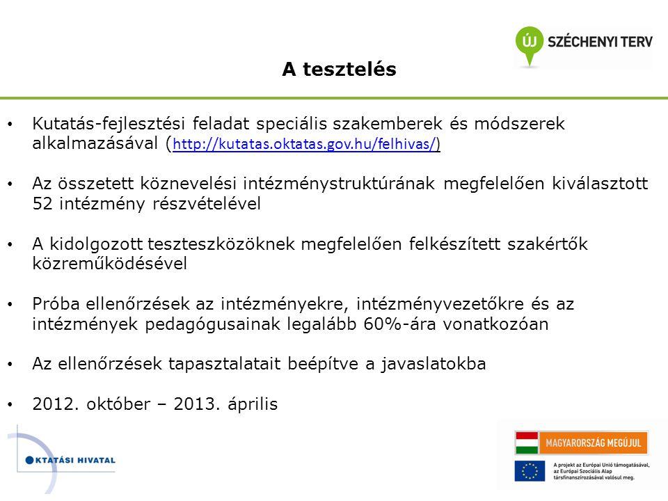 A tesztelés • Kutatás-fejlesztési feladat speciális szakemberek és módszerek alkalmazásával ( http://kutatas.oktatas.gov.hu/felhivas/) http://kutatas.