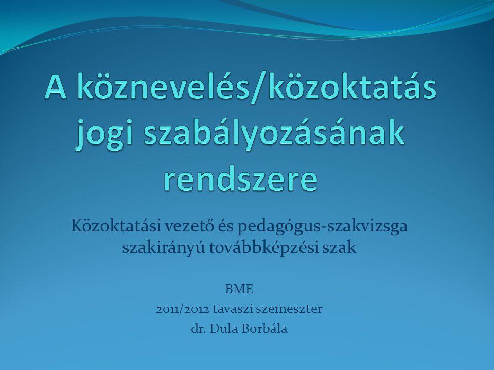 Közoktatási vezető és pedagógus-szakvizsga szakirányú továbbképzési szak BME 2011/2012 tavaszi szemeszter dr. Dula Borbála
