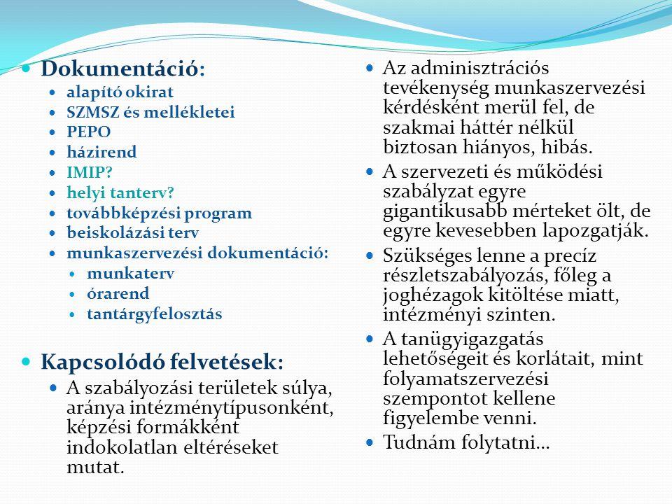  Dokumentáció:  alapító okirat  SZMSZ és mellékletei  PEPO  házirend  IMIP?  helyi tanterv?  továbbképzési program  beiskolázási terv  munka